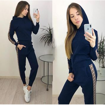 FENDI Fashion Women Casual Print Hoodie Top Sweater Pants Trousers Set Two-piece