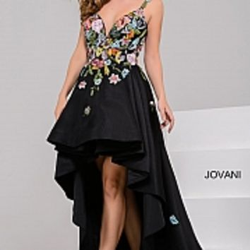 Black fit and flare high low multi color floral applique prom dress.