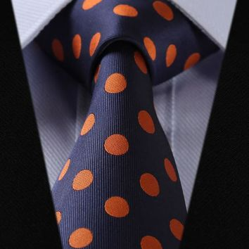 Navy Blue Orange Polka Dot 100% Silk Woven Men's Necktie with or without Pocket Square
