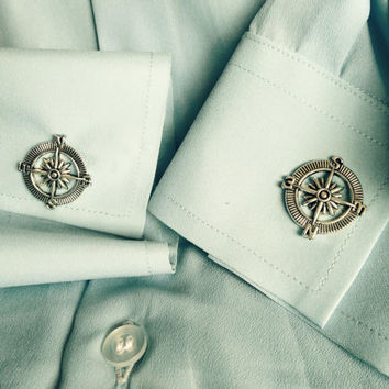Antieque Gold or Silver Compass Cuff Links Steampunk Accessories for Men and Women Wedding Party Gift