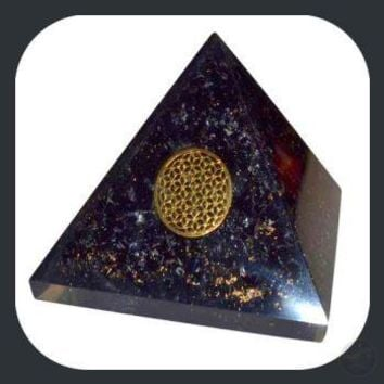 Tourmaline & Orgone Flower of Life Pyramid - 70mm