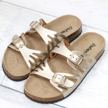 Cut Out Bork Slide On Sandals Metallic Leather Look {Gold}