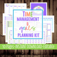 Printable Daily Planner, Monthly, Weekly, To Do List, Calendar-Time Management & Goals Planning Kit-9 Sheets-Bright-INSTANT and EDITABLE
