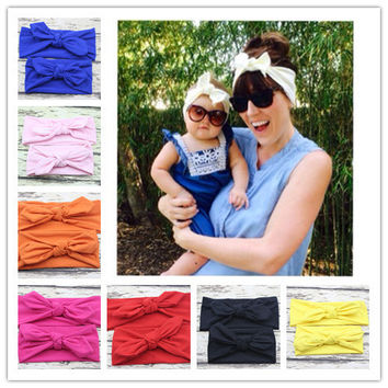 hot selling Mom and Me boho Turban Headband Pair Set Top Knotted Headband Set Fashion Baby and Mommy Cotton Headwrap Set