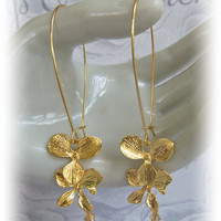 Orchid Flower Earrings - Bridesmaids Dangle Earrings - Gold Cascading Orchid Jewelry - Mothers Day - Christmas - Birthdays - Gift Jewelry