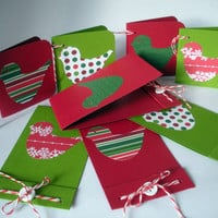 Red and Green Christmas Birdie Matchbook Style Cards and Tags