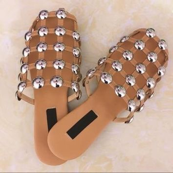 2017 Runway Fashion Leather Sandalias Mules Luxury Slip On Beading Caged Women Amelia Studded Flat Slide Sandals Shoes Women