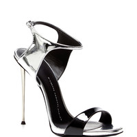 Black and Silver Sandal with Metal Heel