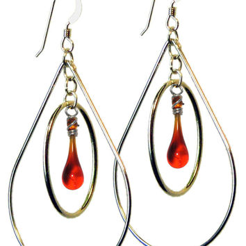 Garnet Pear Earrings