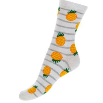 White Pineapple Stripe Socks