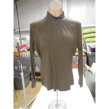 Women's Clinched Long Sleeve Mock Turtleneck, Heather Taupe, Medium Tribal