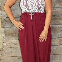 Better With Lace Maxi Dress in Maroon