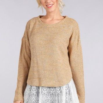 Light Gold Lace Hem Sweater (final sale)