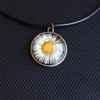 Handmade Real Dried Flower Glass Pendant Necklace. Natural Chrysanthemum Pendant. Nature Lover Gift. Boho Healing Necklace.