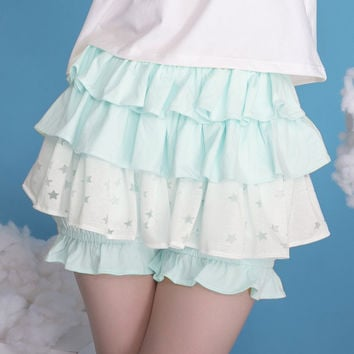 Dolly Delly Japanese Harajuku Style Star Printed Skorts Women's Kawaii Ruffled Short Skirt