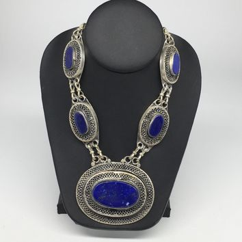 Turkmen Necklace Afghan Ethnic Tribal 5 Cab Lapis Lazuli Inlay Kuchi Necklace TN252