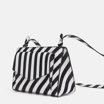 TWO-TONED STRIPED CITY BAG DETAILS