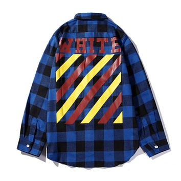 Off White Autumn And Winter New Fashion Letter Stripe Print Plaid Women Men Long Sleeve Top Shirt Coat Blue
