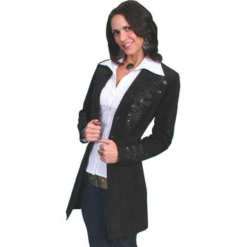Scully Womens Black Boar With Beautiful Floral Embroidery Suede Coat