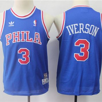 Men's Philadelphia 76ers #3 Allen Iverson Mitchell & Ness Royal 1996-97 Hardwood Classics Swingman Jersey - Best Deal Online