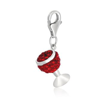 Sterling Silver Wine Glass Charm with Red Tone Crystal Accents