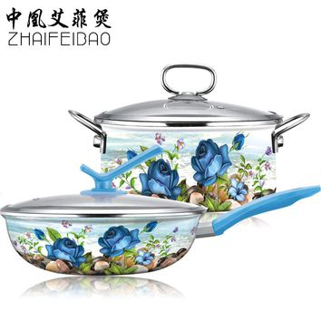 Cooking Tools 4PC Porcelain Enamel Palace Style Cookware Set Stockpot + Wok Pan Cooking Panela Pots Glass Lid Free Shipping
