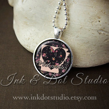 Floral Arkansas State Necklace, Arkansas Love Pendant, Arkansas State Pendant, Arkansas Gift, Arkansas Necklace, AR State