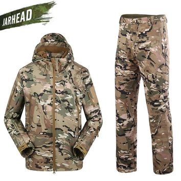 US Army Military Uniform Men Shark Skin Soft Shell Jacket Genuine Windproof Hiking Hunting Tactical TAD 4.0 Jacket Pants Suits