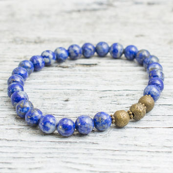 Blue lapis lazuli beaded stretchy bracelet with bronze beads, mens bracelet, womens bracelet