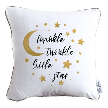 Twinkle, Twinkle, Little Star Decorative Throw Pillow w/ Reversible Gold and White Sequins | COVER ONLY (Inserts Sold Separately)
