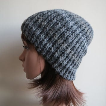 Hand-knit, Twisted Rib, Chunky wool, Unisex Beanie Hat in Striped Shades of Grey.