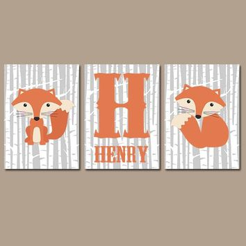 FOX Wall Art, Fox Nursery Art, Woodland Animal Nursery, Baby Boy Name Nursery Decor, Fox CANVAS or Prints, Foxes Birch Wood, Set of 3