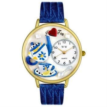 SheilaShrubs.com: Unisex Tea Lover Royal Blue Leather Watch G-0310009 by Whimsical Watches: Watches