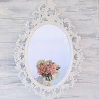 "FRENCH COUNTRY MIRRORS For Sale Oval Shabby Chic Mirror 33""x21"" Ornate Mirror Decorative Wall Mirrors Teal Framed Vanity Mirror"