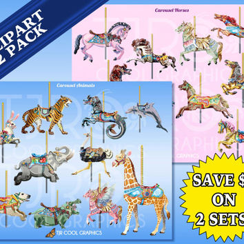 Carousel Animals 2 Pack, Horses, Digital Clip Art, Realistic, Printable, Commercial, Elephant, Merry-Go-Round, Pegasus, Giraffe, Tiger