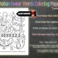 Italian Swear Words Coloring Page - Puttana