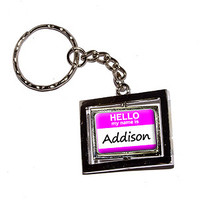 Addison Hello My Name Is Keychain