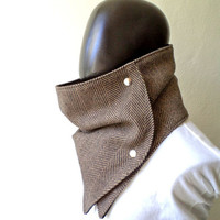 Men scarf. Men cowl,  Extra Wide, Herringbone wool 100%. Trendy, modern, chunky  and cozy. READY TO SHIP.