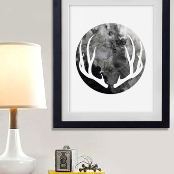 60% OFF SALE Deer Antler Art, Watercolor Print, Deer Antlers, Silhouette Art, Printable Wall Art, Nursery Prints, Antler Home Print