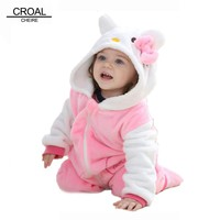 Kawaii Hello Kitty Panda Baby Girls Clothes Animal Baby Rompers Costume Winter Fleece Clothes For Boys Warm Snowsuit Jumpsuit