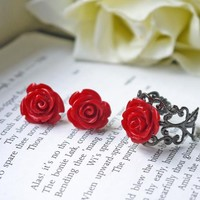 Deep Red Rose Earrings And Ring Jew.. on Luulla
