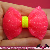 2 pcs Large FAUX RHINESTONE 2 Color Hot Pink & Yellow BOWS Large Flatback Resin Decoden Kawaii Cabochons 58x43mm