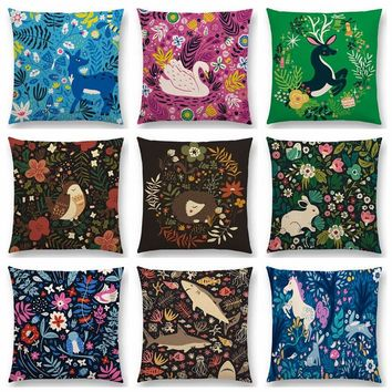 Cute Little Animals Floral Pattern Bird Hedgehog Deer Swan Rabbit Beautiful Flowers Lovely Cushion Cover Sofa Throw Pillow Case