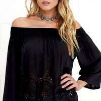 Moon Sign Black Lace Off-the-Shoulder Top