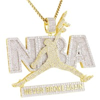 Dunk JumpMan with Gun Iced Out Pendant Chain XmasDeal