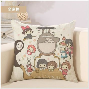 Whole Family Girls and Neighbor Totoro Cartoon Art Pillow Cover Massager Decorative Pillows Warm Home Decor Kids Gift