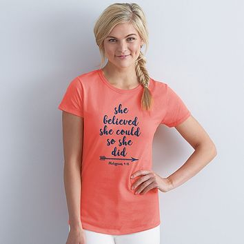 Grace & Truth She Believed She Could Arrow Christian Cherished Girl Bright T Shirt