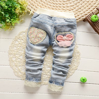 new 2016 brand fashion baby clothes kids girls lace flower jeans cotton baby pants Free shipping size:7M-24M