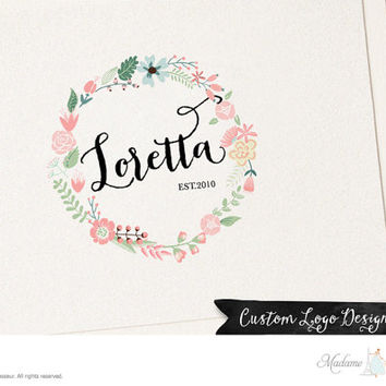 premade logo design flower wreath logo watercolor flower logo floral wreath logo design website logo blog logo feminine logo business logo