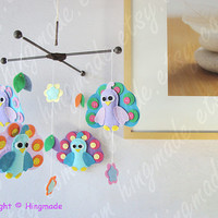 Baby Crib Mobile - Colorful Peacock Mobile - Lavender Purple Tiffany Peacock and flower Mobile (Custom Color Available)